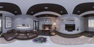 3d представляют дизайна интерьера живущей комнаты Стоковые Фото