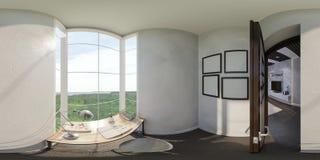 3d представляют дизайна интерьера домашнего офиса Стоковые Фото