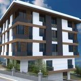 3D представляют дизайна фасада здания Стоковое Фото