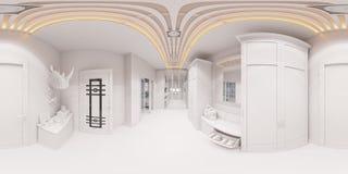 3d представляют дизайн интерьера залы в классическом стиле Стоковое Изображение RF