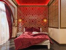 3d представляют дизайн интерьера стиля спальни исламский Стоковая Фотография