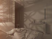 3d представляют дизайн интерьера стиля спальни исламский Стоковое фото RF