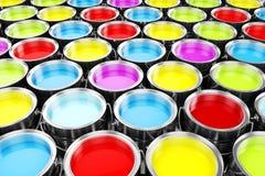 3d представляют красочных ведер краски Стоковое Изображение