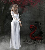 3D представляют молодой женщины и змейки Стоковое Изображение