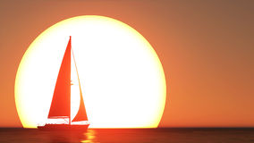 3d представляют работу захода солнца парусника Стоковое Фото
