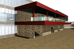 3D представляют современного здания Стоковые Фотографии RF