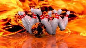 3d представляют шарика боулинга разбивая в штыри Стоковая Фотография