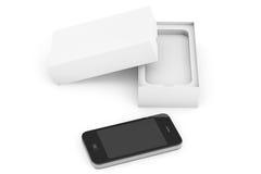 3d представляют Smartphone с коробкой Стоковые Фотографии RF