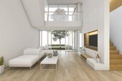 3d представляя белую деревянную живущую комнату около лестницы и внешнее Стоковое Фото