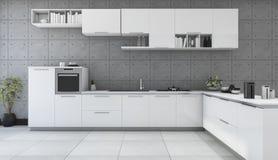 3d представляя белую современную кухню в комнате стиля просторной квартиры Стоковое Изображение
