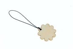 3D представляя деревянный ярлык в форме цветка Стоковые Изображения