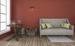 3d представляя комнату красной стены живущую с хорошей характерной мебелью Стоковые Фотографии RF
