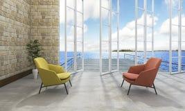 3d представляя комнату хорошего вида на море живущую Стоковая Фотография