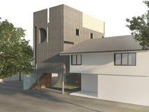 3d представляя красивое винтажное здание коробки с свободным пространством круга около сада бесплатная иллюстрация