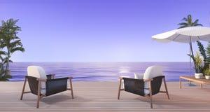 3d представляя красивое кресло на террасе около пляжа с славным взглядом неба и пальмы в Гавайских островах в вечере бесплатная иллюстрация