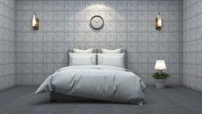 3d представляя красивую белую кровать в белой спальне стены текстуры Стоковое Фото