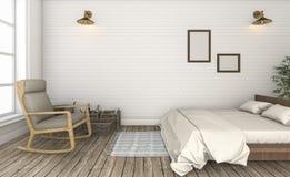 3d представляя красивую белую спальню года сбора винограда кирпичной стены Стоковая Фотография RF