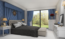 3d представляя красивую классическую спальню с славной кроватью около зеленого поля Стоковое Фото