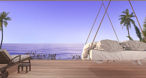 3d представляя красивую смертную казнь через повешение кладут в постель на террасе около пляжа и моря с славным взглядом неба и п иллюстрация штока
