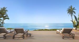 3d представляя красивый пляж кладут в постель на террасе около пляжа и море с славным взглядом неба и пальме в Гавайских островах иллюстрация вектора