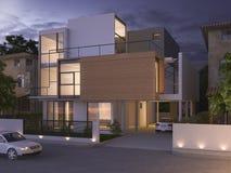 3d представляя красивый современный дизайн чернят дом кирпича около парка и природу на ноче Стоковая Фотография RF