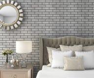 3d представляя классическую роскошную спальню с pouf и зеркалом и кирпичной стеной Стоковые Изображения RF
