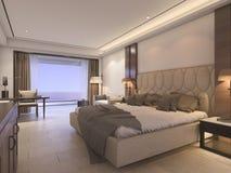 3d представляя классическую спальню с роскошным оформлением Стоковое Изображение RF