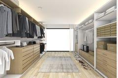 3d представляя минимальную белую деревянную прогулку в шкафе Стоковая Фотография RF