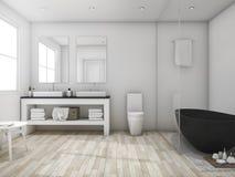 3d представляя минимальную ванную комнату просторной квартиры с черной ванной Стоковое Фото
