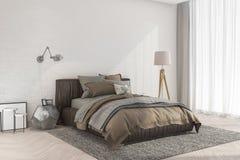 3d представляя минимальную ретро спальню с лампой около кирпичной стены и белого занавеса Стоковое Изображение RF