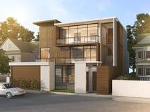 3d представляя дом славного современного стиля деревянный в красивой деревне Стоковая Фотография