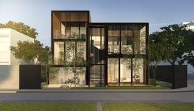 3d представляя дом черной просторной квартиры современный в лете Стоковое фото RF