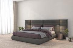3d представляя розовую спальню ткани с лампой и минимальным занавесом оформления Стоковая Фотография RF