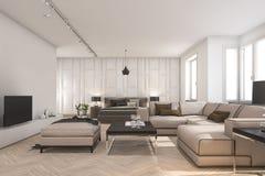 3d представляя скандинавские живущую комнату и спальню с ТВ Стоковые Фото