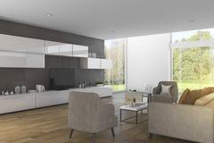 3d представляя современную деревянную живущую комнату с славным видом на сад Стоковое Изображение RF