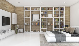 3d представляя современную деревянную спальню с построенный в книжных полках Стоковое фото RF