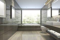 3d представляя современную классическую ванную комнату с роскошным оформлением плитки с славным взглядом природы от окна Стоковая Фотография