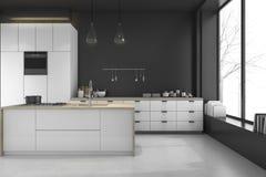 3d представляя современную просторную квартиру чернят кухню и столовую в зиме Стоковые Фотографии RF