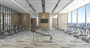 3d представляя современную тренировку и спортзал стиля с видом на город Стоковые Изображения RF
