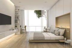 3d представляя спальню красивой просторной квартиры минимальную Стоковые Фотографии RF