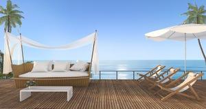 3d представляя славную софу ротанга пляжа с пляжем кладут в постель на террасе около моря с сценой утра бесплатная иллюстрация