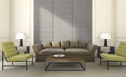 3d представляя славные место и софу в яркой живущей комнате Стоковое Изображение RF