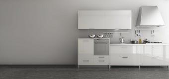 3d представляя славный комплект кухни в минимальной комнате стиля Стоковые Фотографии RF