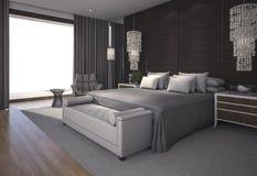 3d представляя славный дневной свет в красивой спальне Стоковая Фотография RF