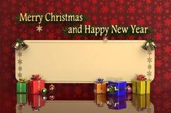3D представляя с Рождеством Христовым и счастливый Новый Год Стоковое Изображение RF