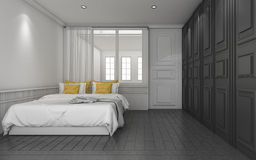 3d представляя темную классическую спальню с желтой кроватью Стоковое Фото
