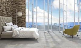 3d представляя хорошую спальню вида на море Стоковое Изображение RF
