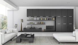 3d представляя черноту построенный в полке и диван-кровати в живущей комнате Стоковые Фотографии RF
