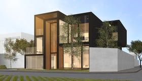 3d представляя черный современный дом Стоковые Изображения RF
