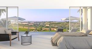 3d представляя чудесную спальню с славной кроватью и кресло около зеленого холма в лете иллюстрация штока